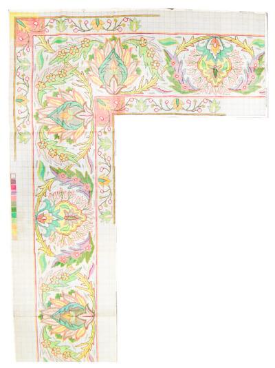 custom corner rug map